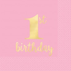 Pink Girl's 1st Birthday Hot Stamped Beverage Napkins Pack of 16