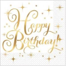Happy Birthday Gold Premium Hot Stamped Beverage Napkins