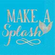 Mermaid Shine Make a Splash Beverage Napkins 25cm x 25cm Pack of 16