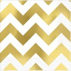 Chevron Design Gold Hot Stamped Beverage Napkins