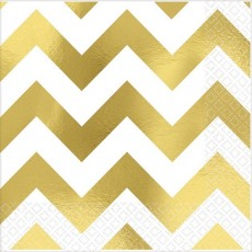 Chevron Design Gold Premium Hot-Stamped Beverage Napkins