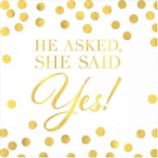 Bridal Shower He Asked, She Said Yes! Beverage Napkins Pack of 16