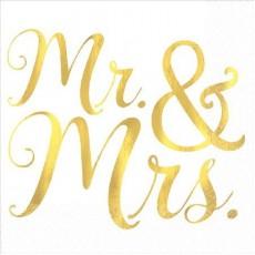 Wedding Mr. & Mrs. Beverage Napkins 25cm x 25cm Pack of 16