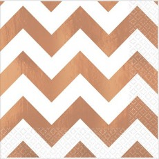 Chevron Design Rose Gold Premium Hot-Stamped Beverage Napkins