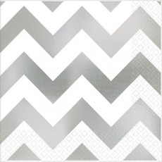 Chevron Design Silver Premium Hot-Stamped Beverage Napkins