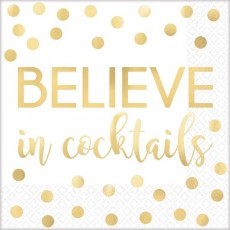 New Year Believe in Cocktails Beverage Napkins 25cm x 25cm Pack of 16