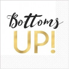 New Year Bottoms Up! Beverage Napkins 25cm x 25cm Pack of 16