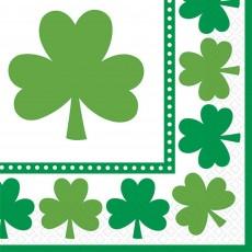 St Patrick's day Lucky Shamrocks Beverage Napkins 25cm x 25cm Pack of 16