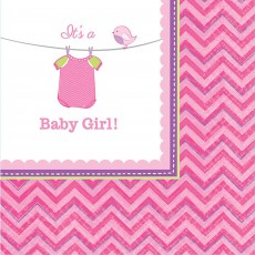 Shower with Love Girl It's a Baby Girl! Beverage Napkins 25cm x 25cm Pack of 16