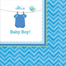 Shower with Love Boy It's a Baby Boy! Beverage Napkins 25cm x 25cm Pack of 16