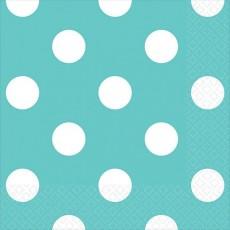Robin's Egg Blue with White Dots Beverage Napkins 25cm x 25cm Pack of 16