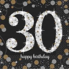 30th Birthday Sparkling Celebration Beverage Napkins 25cm x 25cm Pack of 16