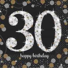 30th Birthday Sparkling Celebration Beverage Napkins