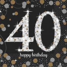 40th Birthday Sparkling Celebration Beverage Napkins 25cm x 25cm Pack of 16