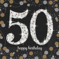50th Birthday Sparkling Celebration Beverage Napkins 25cm x 25cm Pack of 16