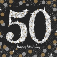 50th Birthday Sparkling Celebration Beverage Napkins