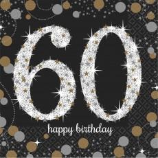 60th Birthday Sparkling Celebration Beverage Napkins 25cm x 25cm Pack of 16
