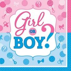 Gender Reveal Girl or Boy? Beverage Napkins 25cm x 25cm Pack of 16