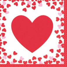 Love Confetti Hearts Beverage Napkins Pack of 16