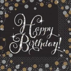 Happy Birthday Sparkling Celebration Beverage Napkins 25cm x 25cm Pack of 16