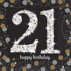 21st Birthday Sparkling Celebration Beverage Napkins 25cm x 25cm Pack of 16