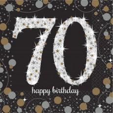 70th Birthday Sparkling Celebration Beverage Napkins Pack of 16