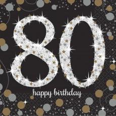 80th Birthday Sparkling Celebration Beverage Napkins Pack of 16