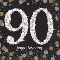 90th Birthday Sparkling Celebration Beverage Napkins Pack of 16