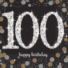 100th Birthday Sparkling Celebration Beverage Napkins Pack of 16