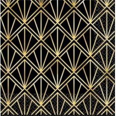 Glitz & Glam Black & Gold  Beverage Napkins