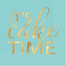 Happy Birthday Eat, Drink & Be Happy It's Cake Time Beverage Napkins 25cm x 25cm Pack of 16