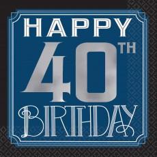 Happy Birthday Man Happy 40th Birthday Beverage Napkins Pack of 16