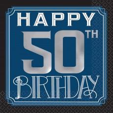 Happy Birthday Man Happy 50th Birthday Beverage Napkins Pack of 16