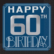 Happy Birthday Man Happy 60th Birthday Beverage Napkins Pack of 16