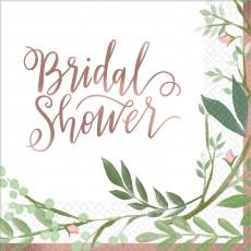 Bridal Shower Love and Leaves Beverage Napkins Pack of 16