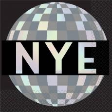 New Year Disco Ball Drop NYE Beverage Napkins 25cm x 25cm Pack of 16