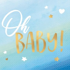 Oh Baby Boy Hot Stamped Oh Baby! Beverage Napkins Pack of 16