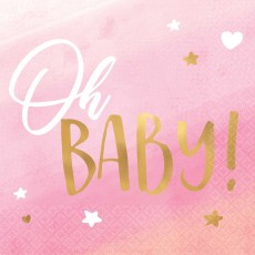 Oh Baby Girl Hot Stamped Oh Baby! Beverage Napkins Pack of 16