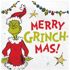 Christmas Party Supplies - Beverage Napkins Dr. Seuss Merry Grinchmas!