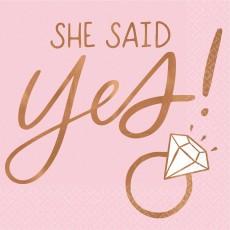 Bridal Shower Blush Wedding She Said Yes! Beverage Napkins Pack of 16