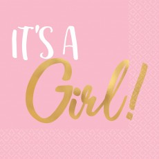 Baby Shower - General Hot Stamped It's a Girl! Beverage Napkins Pack of 16