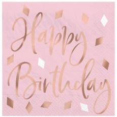 Blush Birthday Beverage Napkins
