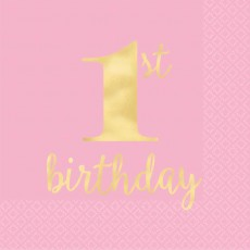 Pink Girl's 1st Birthday Hot Stamped Lunch Napkins 33cm x 33cm Pack of 16