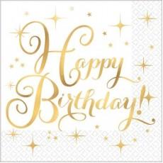 Happy Birthday Gold Premium Hot Stamped Lunch Napkins