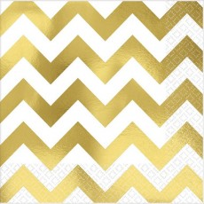 Chevron Design Gold Premium Hot-Stamped Lunch Napkins