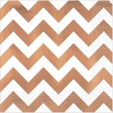 Chevron Design Rose Gold Premium Hot-Stamped Lunch Napkins