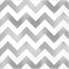 Chevron Design Silver Premium Hot-Stamped Lunch Napkins