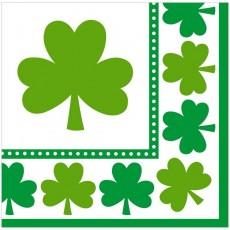 St Patrick's day Lucky Shamrocks Lunch Napkins 33cm x 33cm Pack of 16