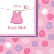 Shower with Love Girl It's a Baby Girl! Lunch Napkins 33cm x 33cm Pack of 16