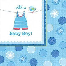 Shower with Love Boy It's a Baby Boy! Lunch Napkins 33cm x 33cm Pack of 16